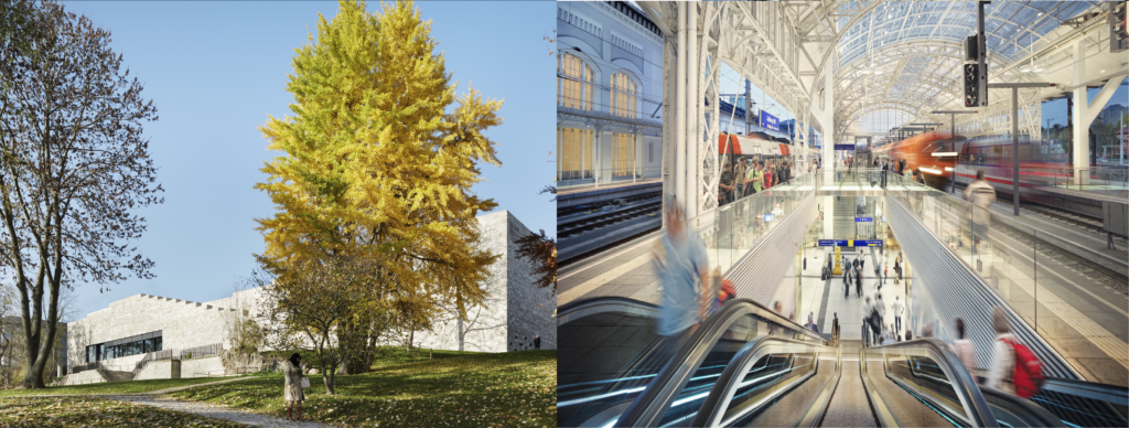 links: Grimmwelt Kassel, rechts: Hauptbahnhof Salzburg