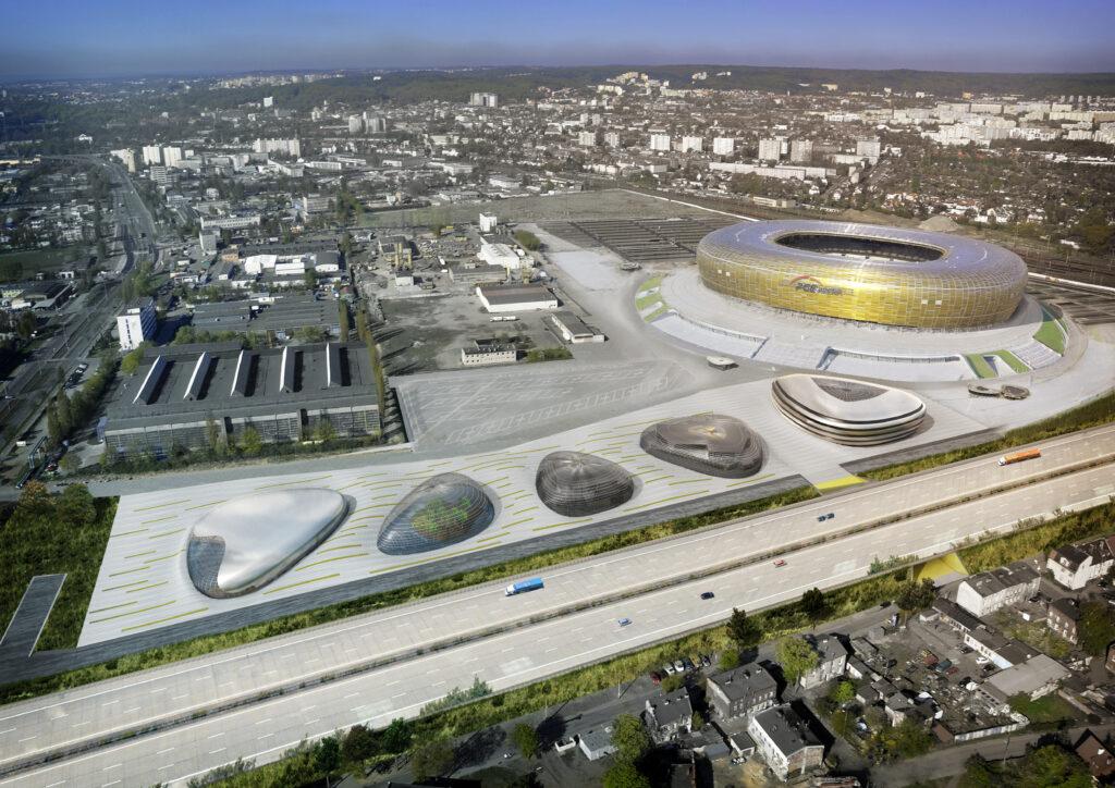 """""""Kieselsteine"""" neben PGE Arena in Danzig- Konzept"""