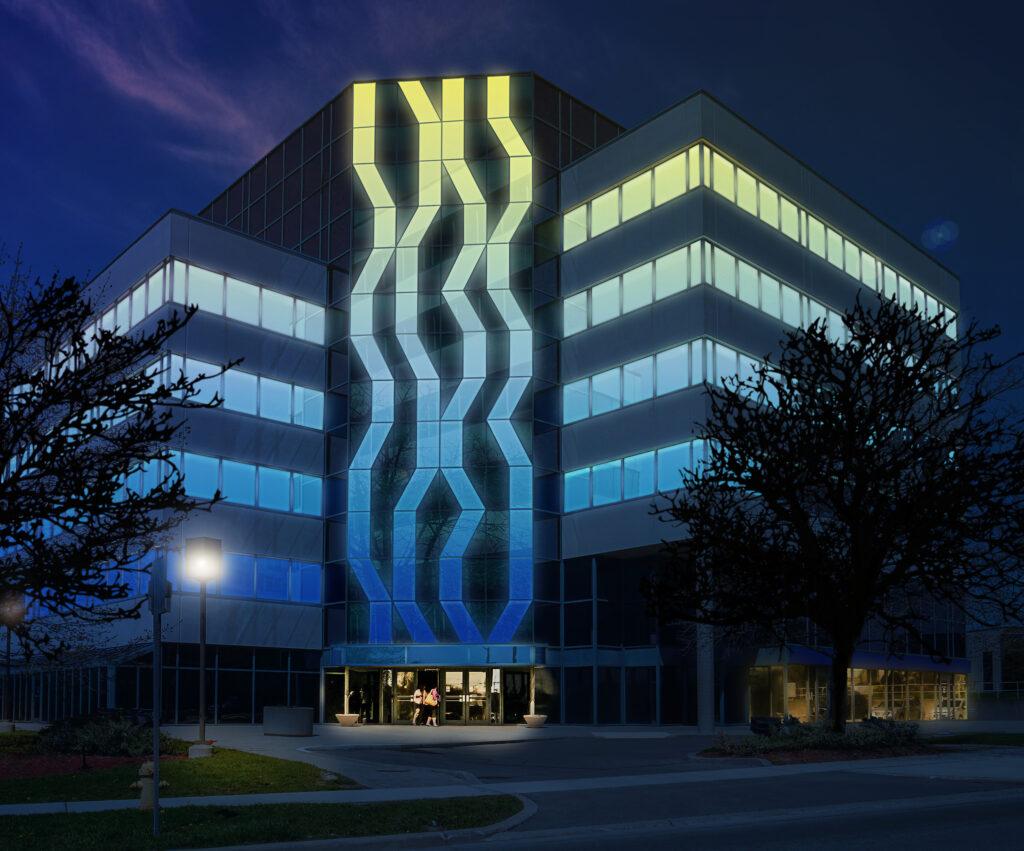 """Beim Aktivglas """"Glassiled Uni"""" sind RGB-LEDs unsichtbar in der Rahmenkonstruktion untergebracht, die die gleichmäßige Illumination von Teilen der Fassade ermöglichen. Am Tage sind die Scheiben optisch nicht von normalen Verglasungen zu unterscheiden."""