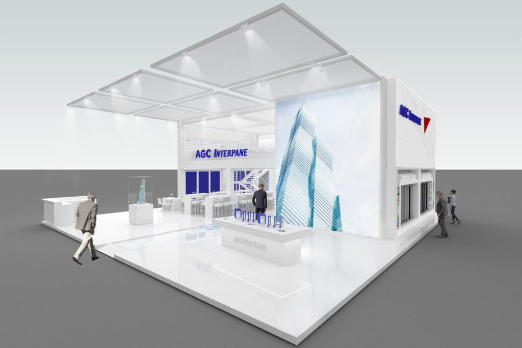"""Der AGC Interpane Messestand wird multimedialer – der neue Service """"Coating on Demand"""" wird filmisch auf einer LED-Wall und anhand eines 1:300 Architekturmodells plastisch dargestellt."""