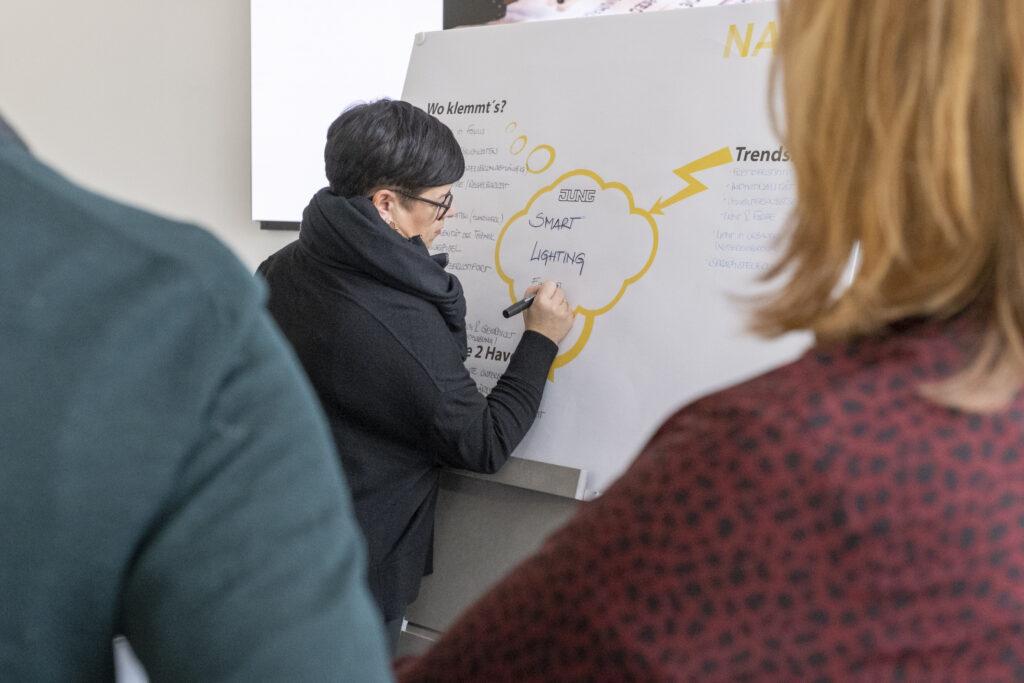 Dijane Slavic von JUNG notiert wichtige Ergebnisse auf dem Mind Map