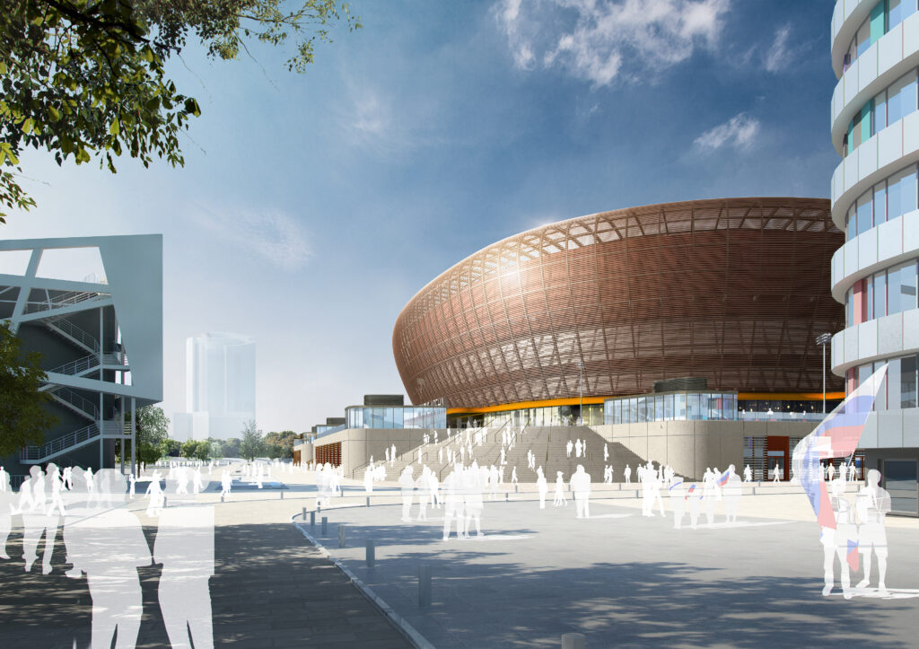 Blick auf eine der Zugangstreppen zur UGMK-Arena.