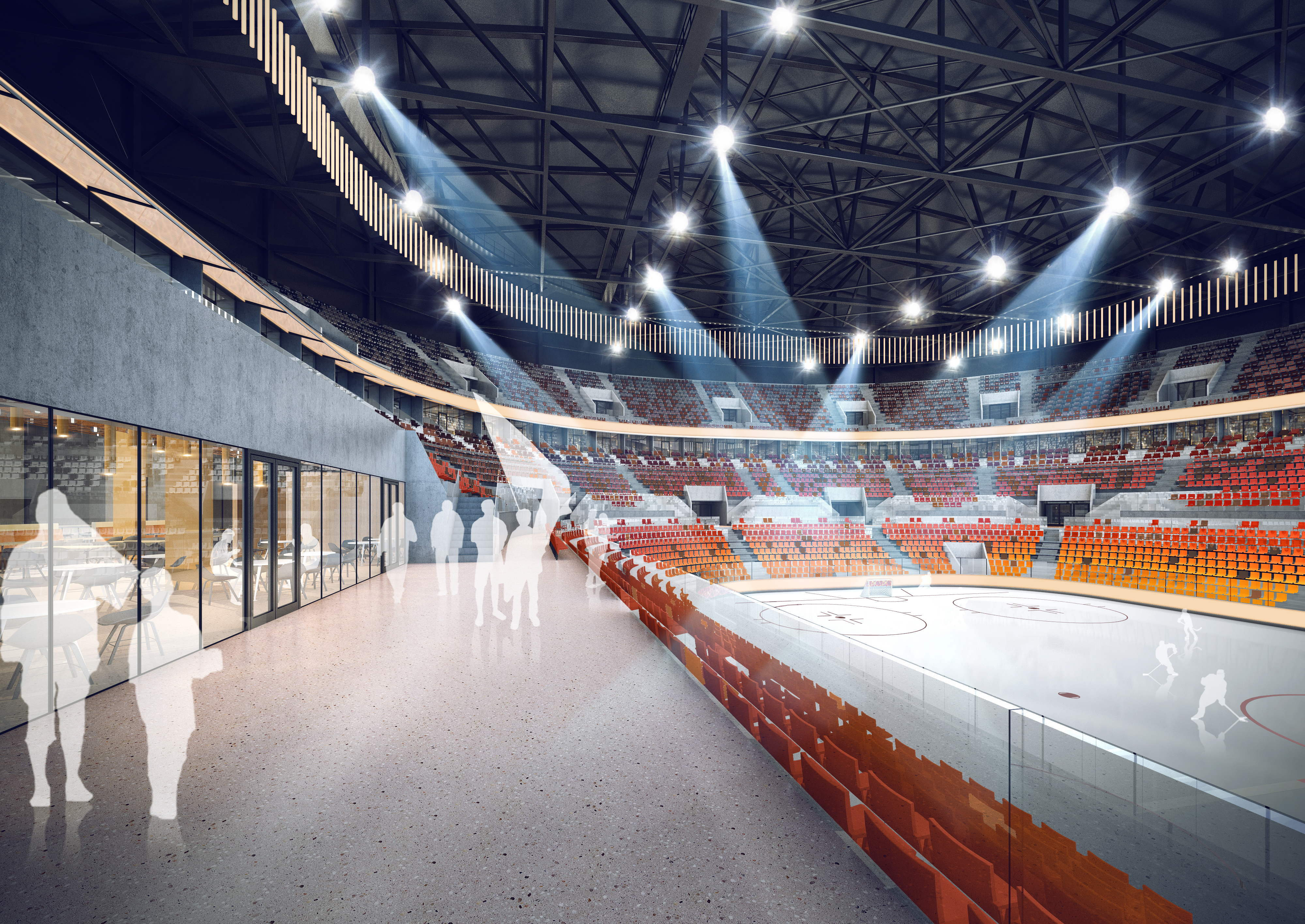 Der Stadioninnenraum bei Nutzung als Eisarena.