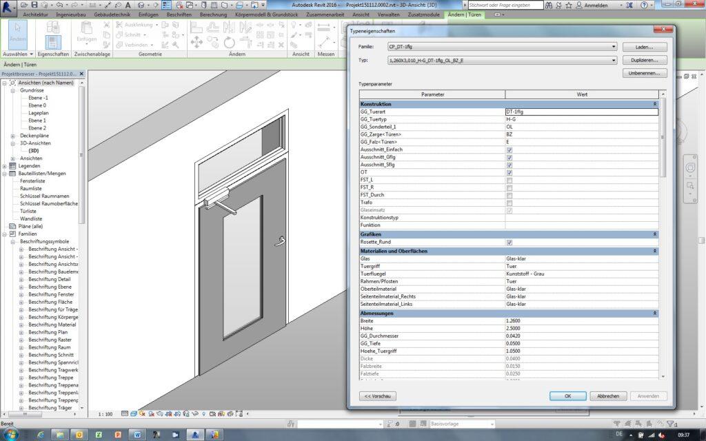 Komplettes Türsystem am Beispiel des CAD-Programms Revit.